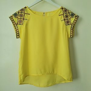 Yellow Blouse with Embroidery in Sleeves